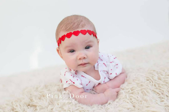 Red Heart Chain Headband,$7.99 made to order