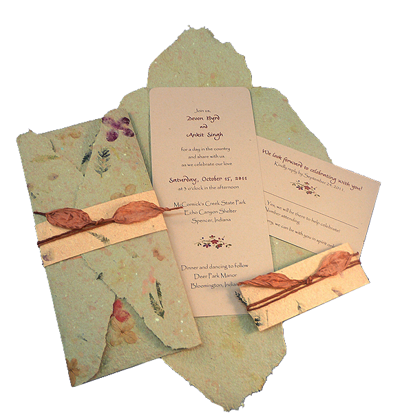 Twisted Limb Custom Eco Invitations - made from crushed flowers and seeds