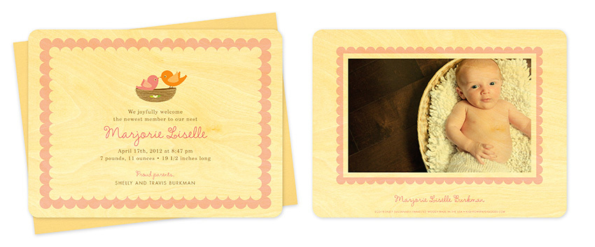 Night Owl Paper Goods Eco-Wooden Birth Announcements