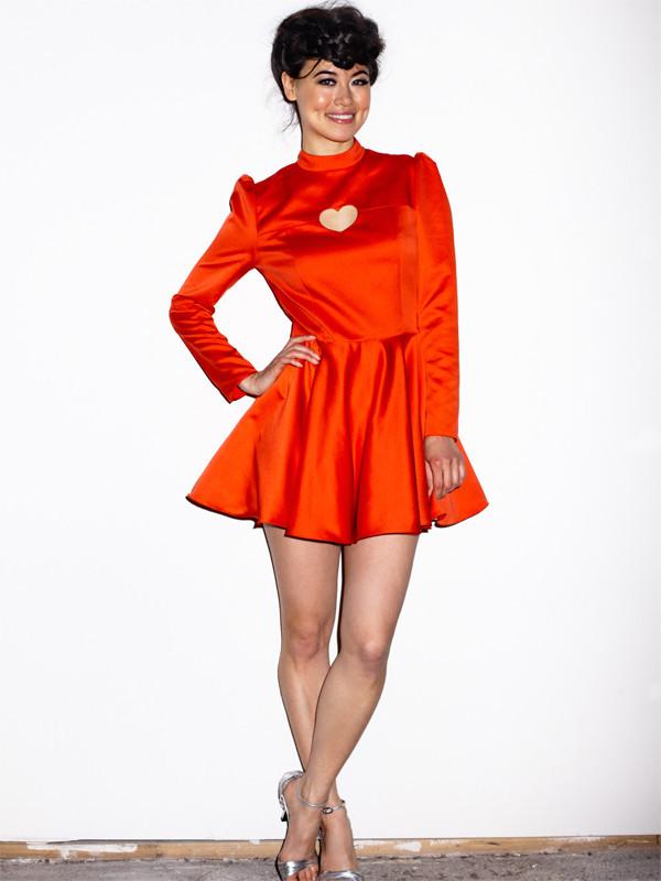 Heart Dress In Satin-Red, $198 @vautecouture.com