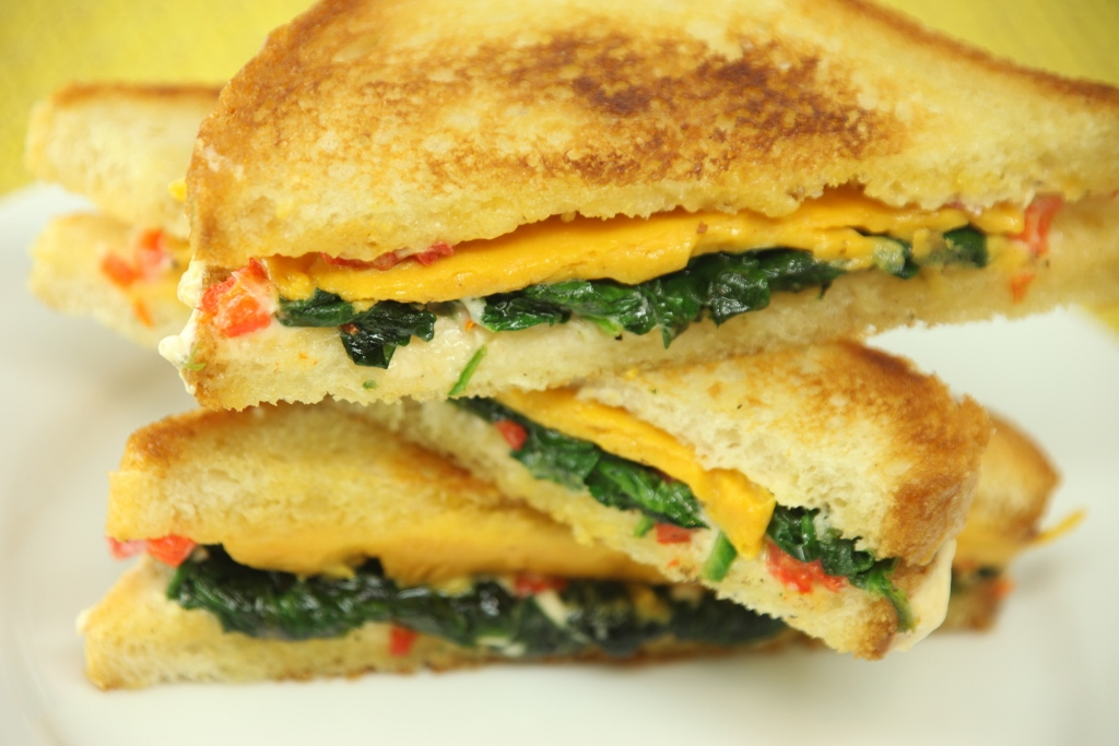 Cheddar Grilled Cheese with Pimento Mayo & Spinach