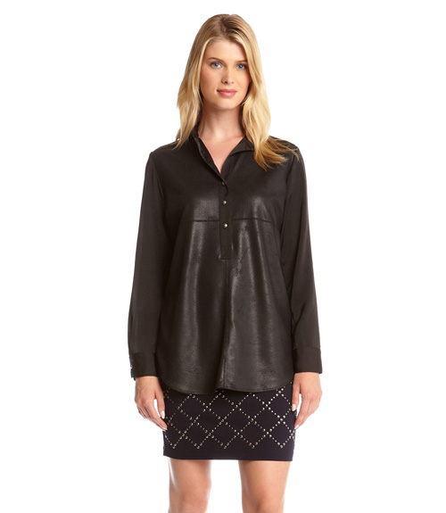 Faux leather shirt, $65 @karenkane.com
