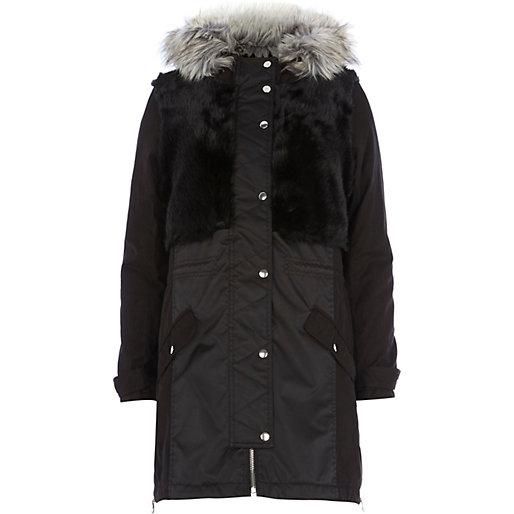 Black faux fur panel parka jacket ,$230 @riverisland.com