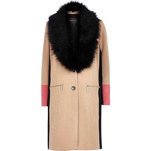 Brown color block midi coat, $220 @riverisland.com