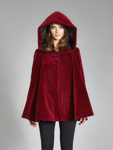 Angela Swing Coat in Insulated Organic Moleskin - Red & Black In Stock • $400 @ VauteCouture.com