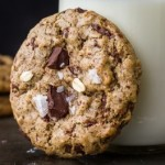 Oatmeal Chocolate Chip Almond Butter Cookies with Maple, Buckwheat, and Flaky Salt {Vegan and Gluten-Free}