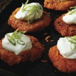 Sweet Potato Latkes With Almond Crème Fraîche