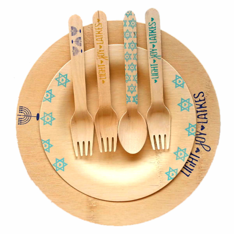 ModernTribe's Light, Joy, Latkes Hanukkah Plates & Utensils $12 - $24 Why Mom will appreciate this: Mom cares about a beautiful Hanukkah table. These bamboo plates and birch wood utensils are nicer than what she can get at Target®, but still casual and compostable. Choose a Set of All Sets and get 20% off!