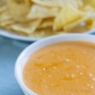 Creamy Vegan Cashew-Based Queso Dip - perfect for superbowl snacking! (NFL defensive lineman and 300 pound vegan David Carter's recipe!)