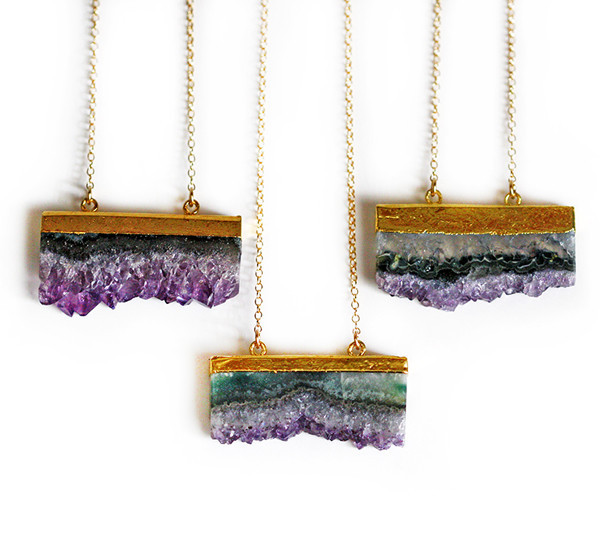 Amethyst Druzy Elongated Slice Necklace, $70 @keijewelry.com