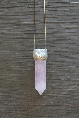 Adina Mills, Rose Quartz on vintage chain, $120 @adinamills.com