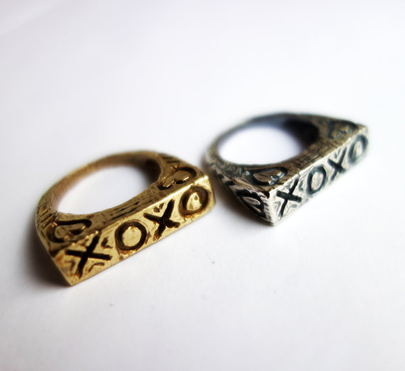 Valentine's Day XOXO - Hand Carved Heavy Cast Ring in Brass by Rachel Pfeffer Designs, $72 @etsy.com