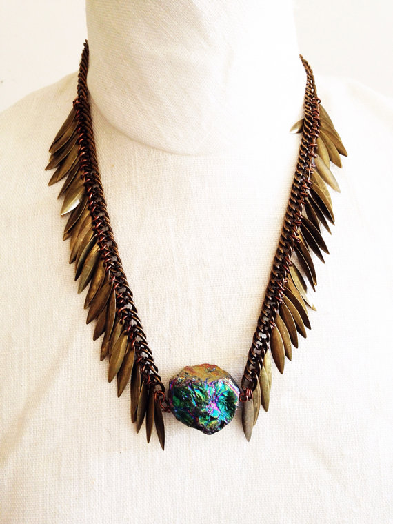 Titanium Quartz Crystal Festival Necklace by Francis Frank, $45 @etsy.com
