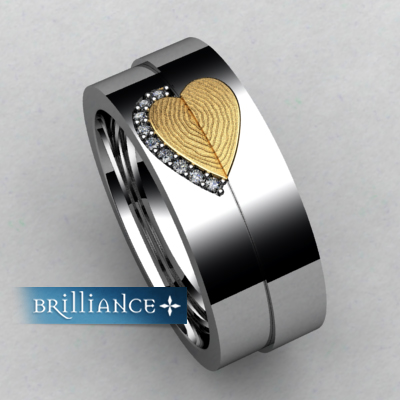 These fingerprint rings use you and your loved ones prints and then open up to wear each other's print from starting price is $1,295 and $2,495 @brilliance.com
