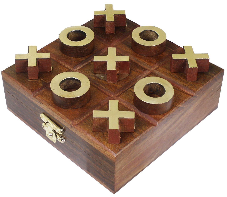 Handmade Wooden Tic-Tac-Toe Game, $19