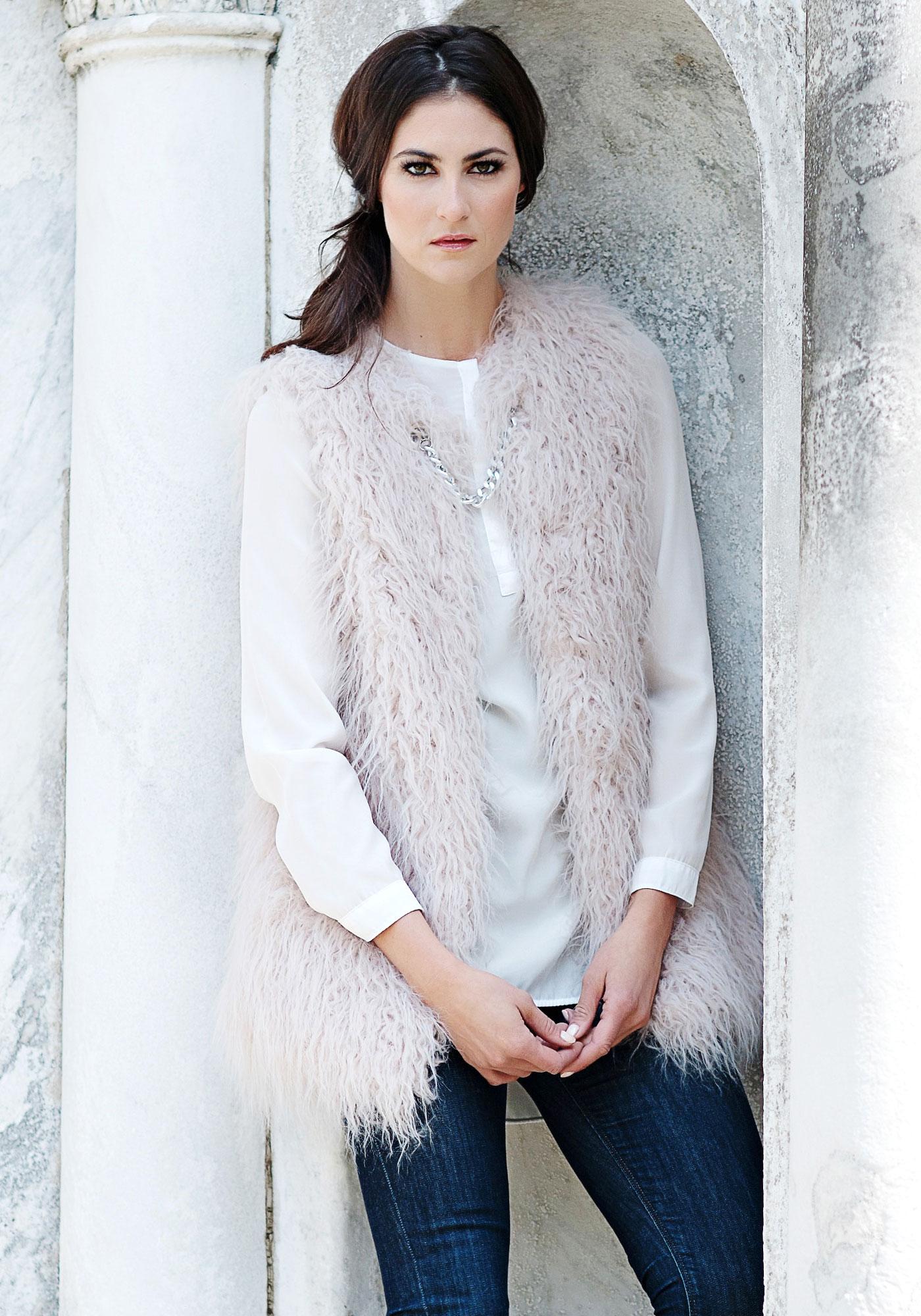 Fabulous Furs Mauve Tibetan Lamb Faux Fur Vest, $69 (on sale)