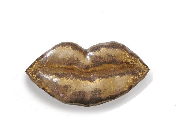 Rosalind B Nix Gold Lip Bling Pillow, $45