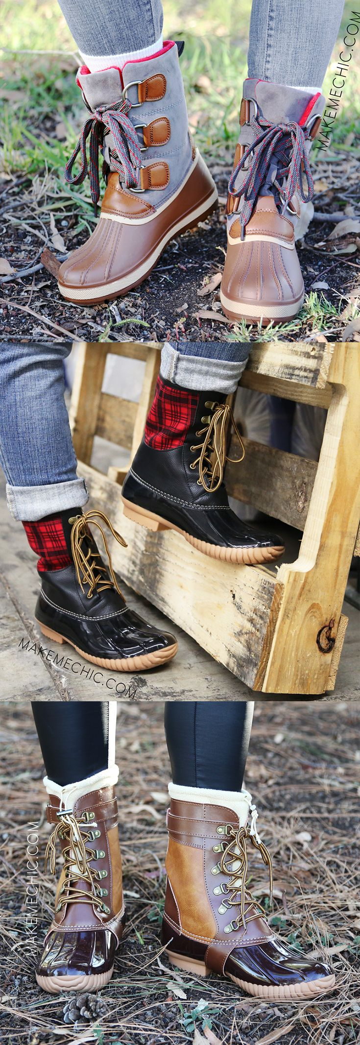 Bamboo Blizzard Chunky Buckle Duck Boots, $41