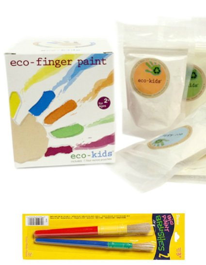 Eco Kids Non Toxic Finger Paint and Brushes