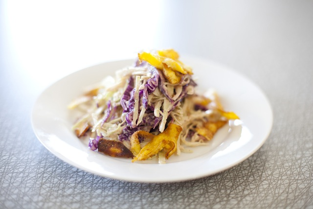 Jerk Coleslaw with Plantain Chips