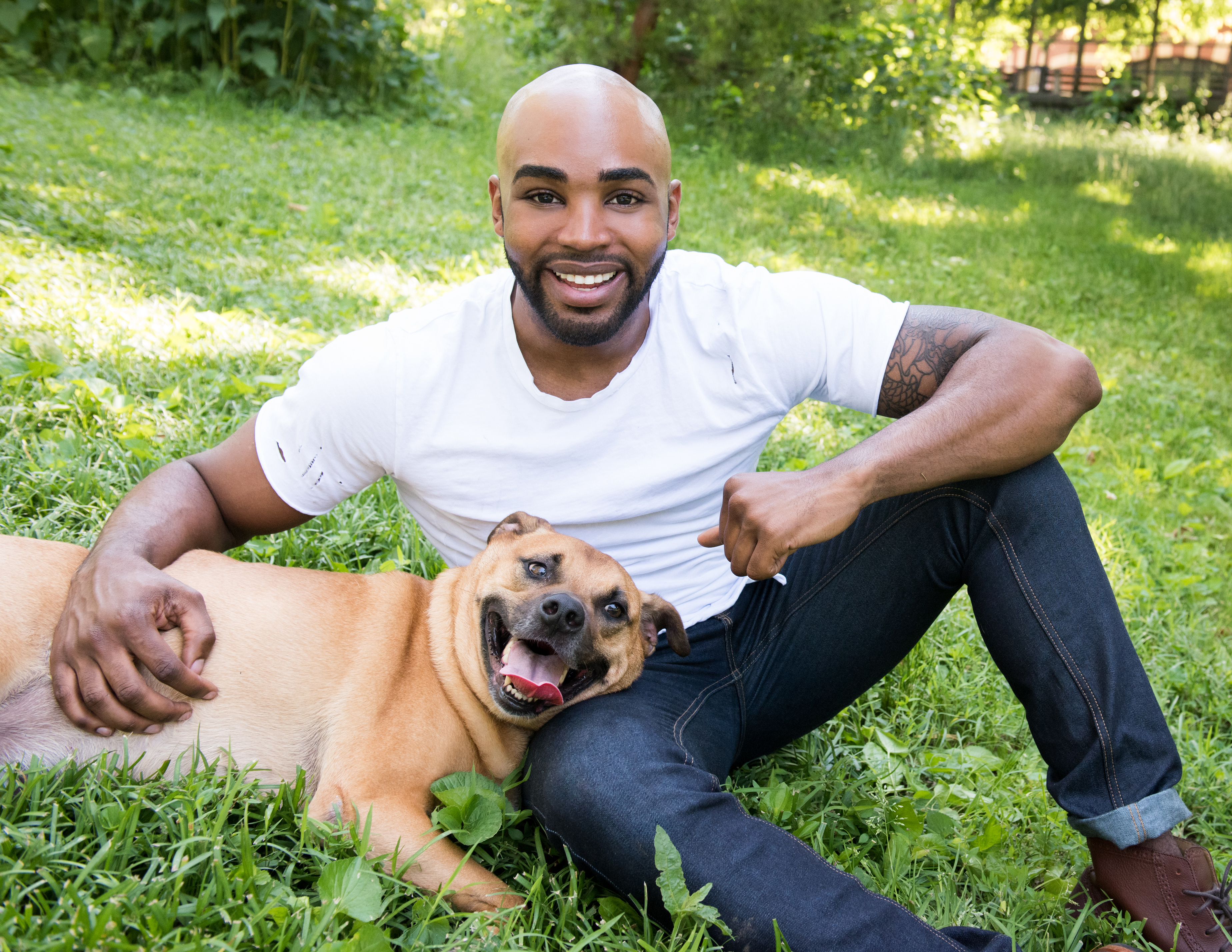 Jamel King & his rescue, Ralph: photo by Petra Romano