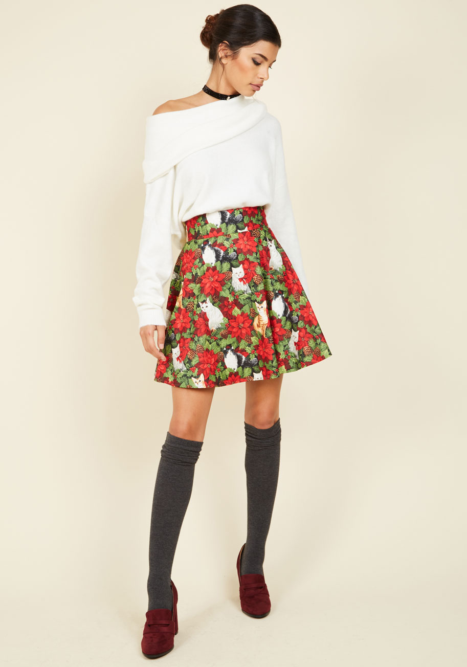Playful Feeling Skater Skirt in Festive Felines, $49.99 @modcloth.com