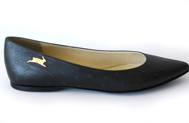 20% of the sale of this shoe benefits PETA. Vegan Ostrich Flat by Rebecca Mink for PETA,