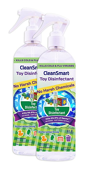 CleanSmart Toy Disinfectant Spray - No Rinse, No Wipe, Kills 99.9% of Germs, Bacteria, Viruses, Fungus, Mold, Leaves No Chemical Residue. 16oz, 2 Pk. , $12.49 @amazon.com