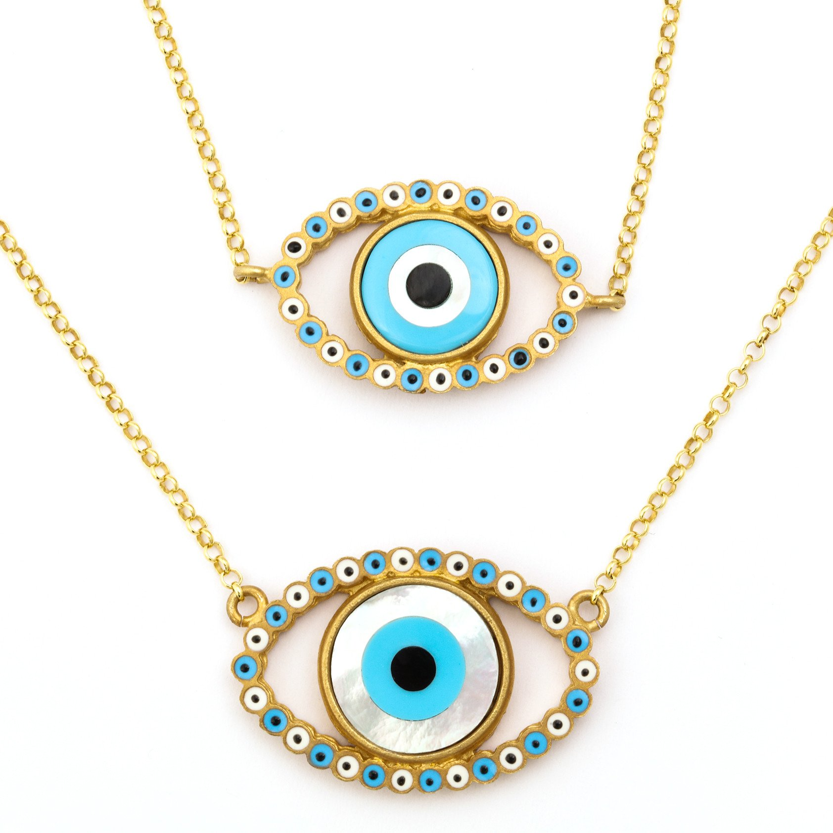 """Evil Eye"" Gold Rhodium Necklace $1,650 @amedeo.com"