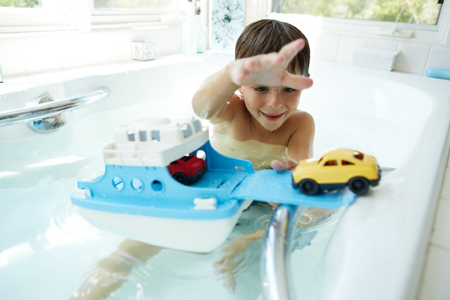 Green Toys Ferry Boat with Mini Cars Bathtub Toy, $17 @amazon.com