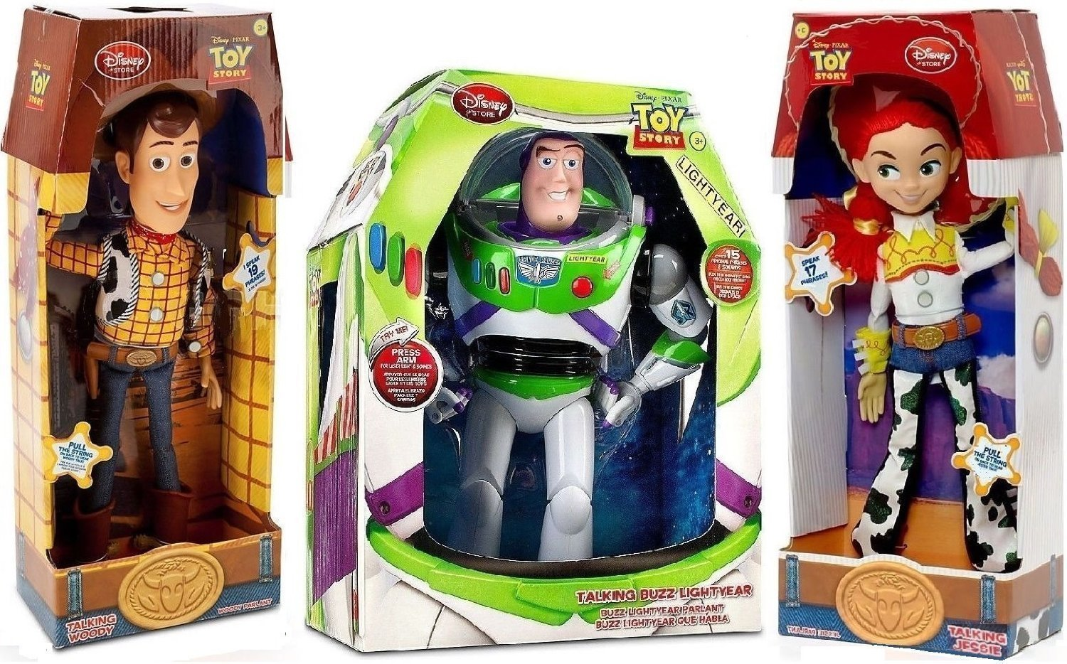 Toy Story Woody, Buzz Lightyear, Jessie Cowgirl talking action figure Dolls by Disney, $119 @amazon.com