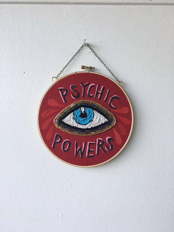Psychic powers hoop - hand embroidered by Tessa Perlow, $84 @etsy.com