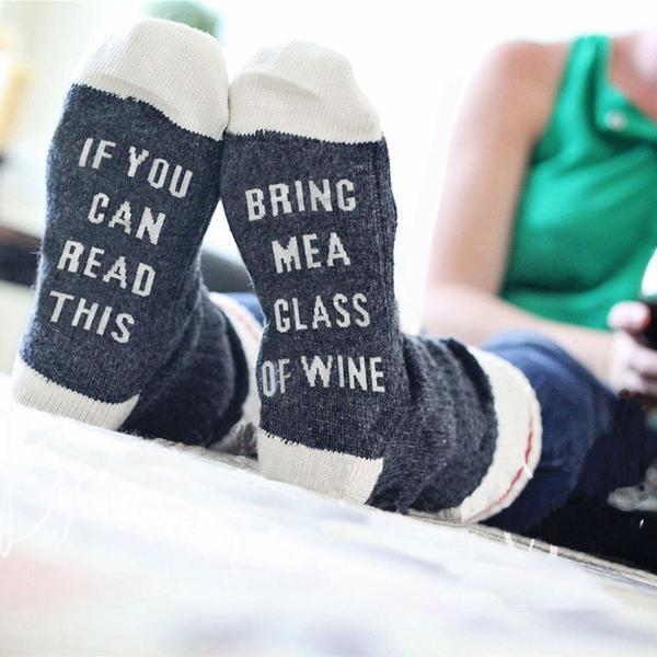 If You Can Read This Bring Me a Glass of Wine Socks, $16 @slimwallet.co