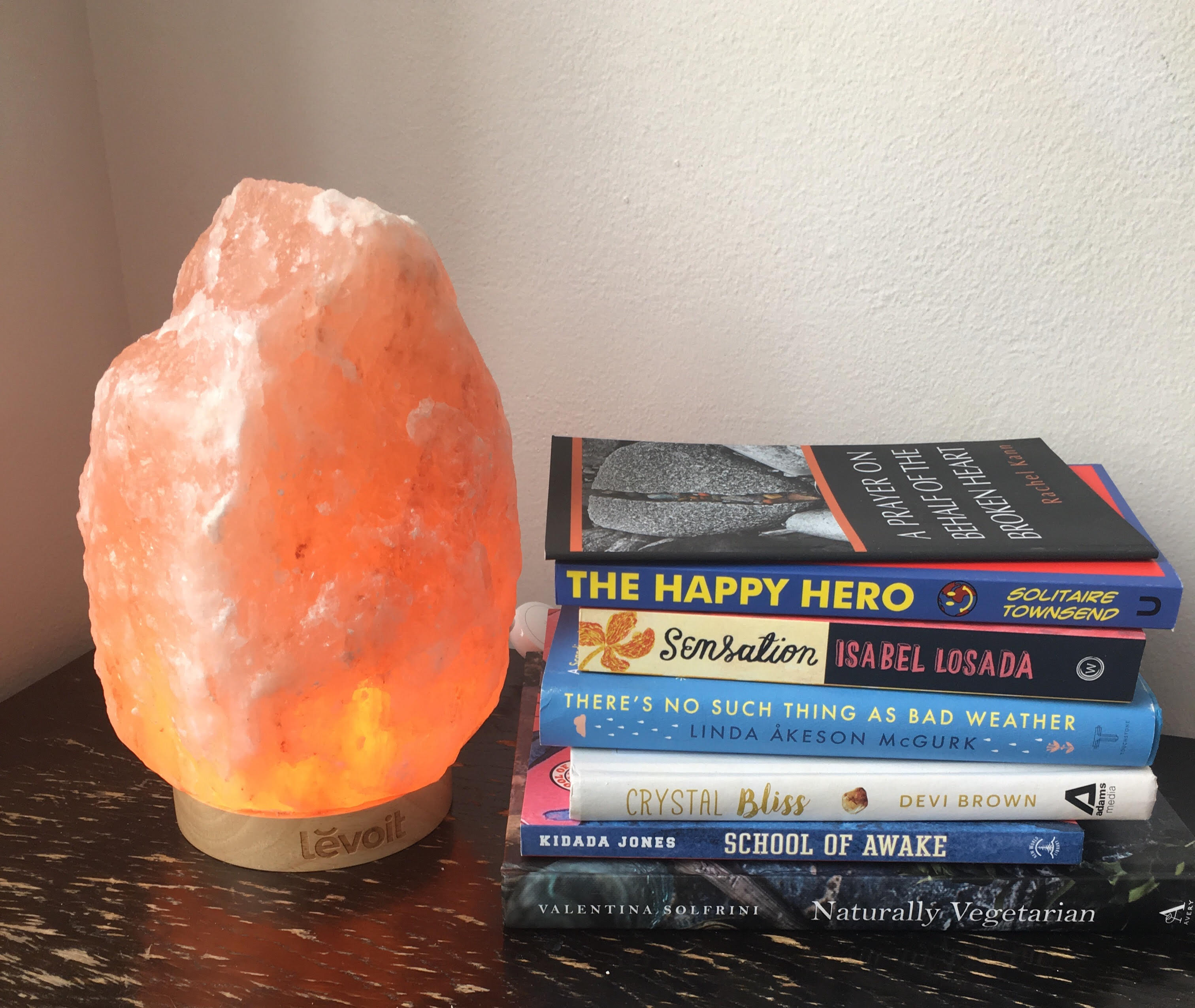 Here's my actual Levoit on my bedside table -- in daylight