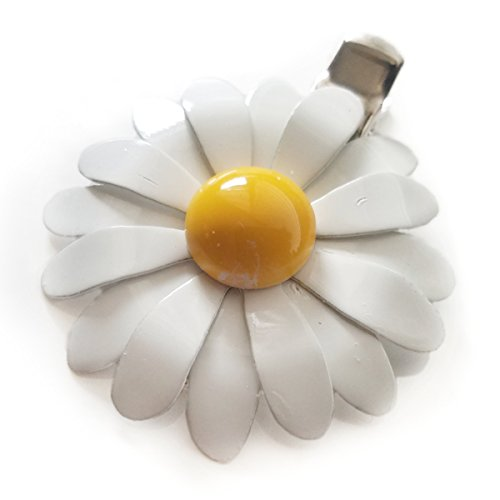 70s Style White and Yellow Enamel Daisy Hair Clip, $10