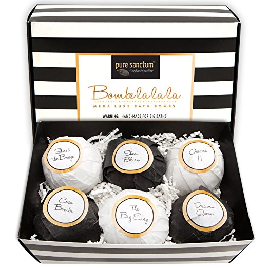 Bath Bombs Gift Set - Luxury Bath Fizzies - Lush Size 6oz Natural Bath Balls - US Made/ Vegan, $22