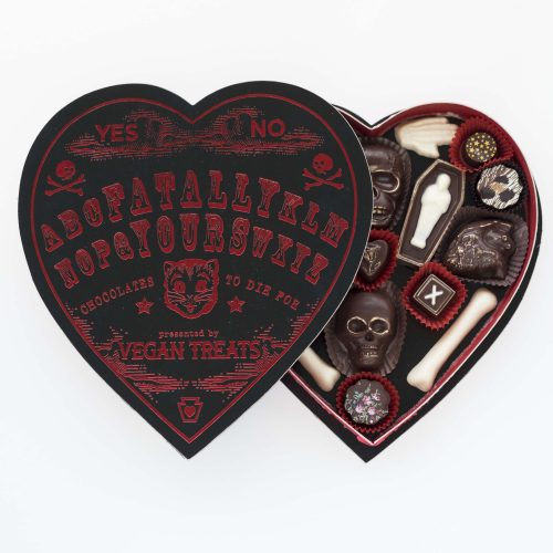 Black as your soul and as ultimate as your love, this Vegan Treat Fatally Yours Gourmet Chocolate box is absolutely to die for, $124 @vegantreats.com