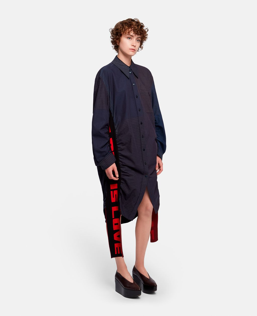 "Leave it up to Stella McCartney to design a casual Valentine's Day shirt dress. Proclaiming ""ALL IS LOVE"" this wearable art would make any chic lady squeal with excitement. Raven All Is Love Dress, $1,495 @stellamccartney.com"
