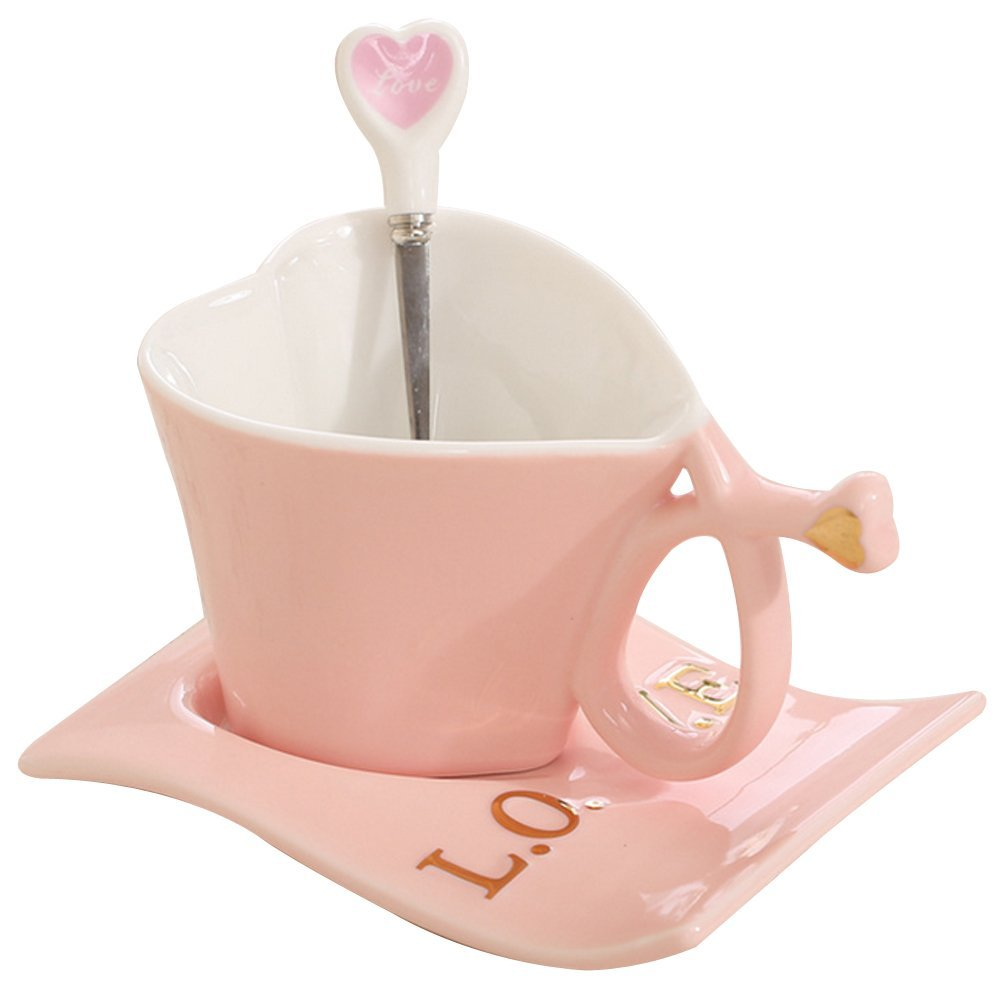 When s/he uses this sweet love mug with matching saucer and spoon at the office, you'll always be thought of. $16 @amazon.com