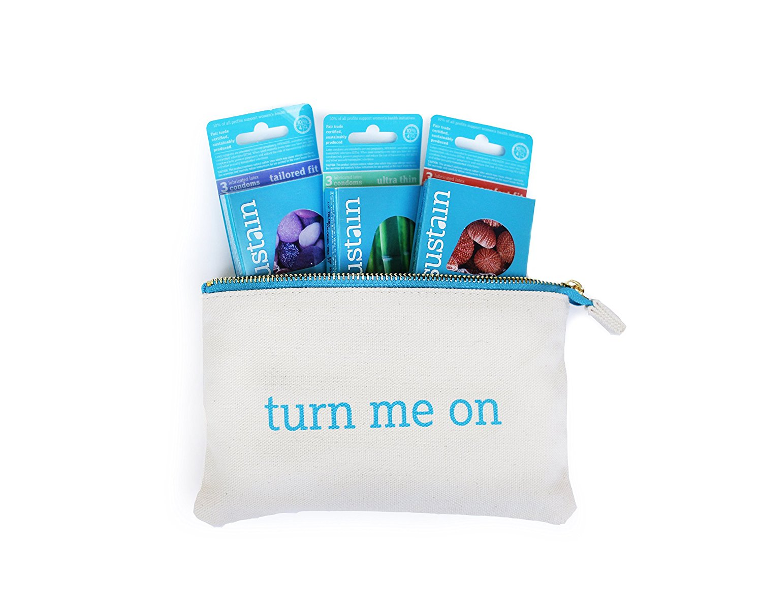 "Sustain Gift Set: Non-toxic, Vegan Latex Condoms and Organic Cotton ""Turn Me On"" Condom Pouch, $30 @amazon.com"
