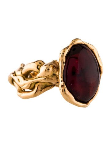 Because buying pre-loved jewelry is the greenest move! Lucifer Vir Honestus 18K Garnet Cocktail Ring (Vintage/ Consignment), $2,400 @therealreal.com