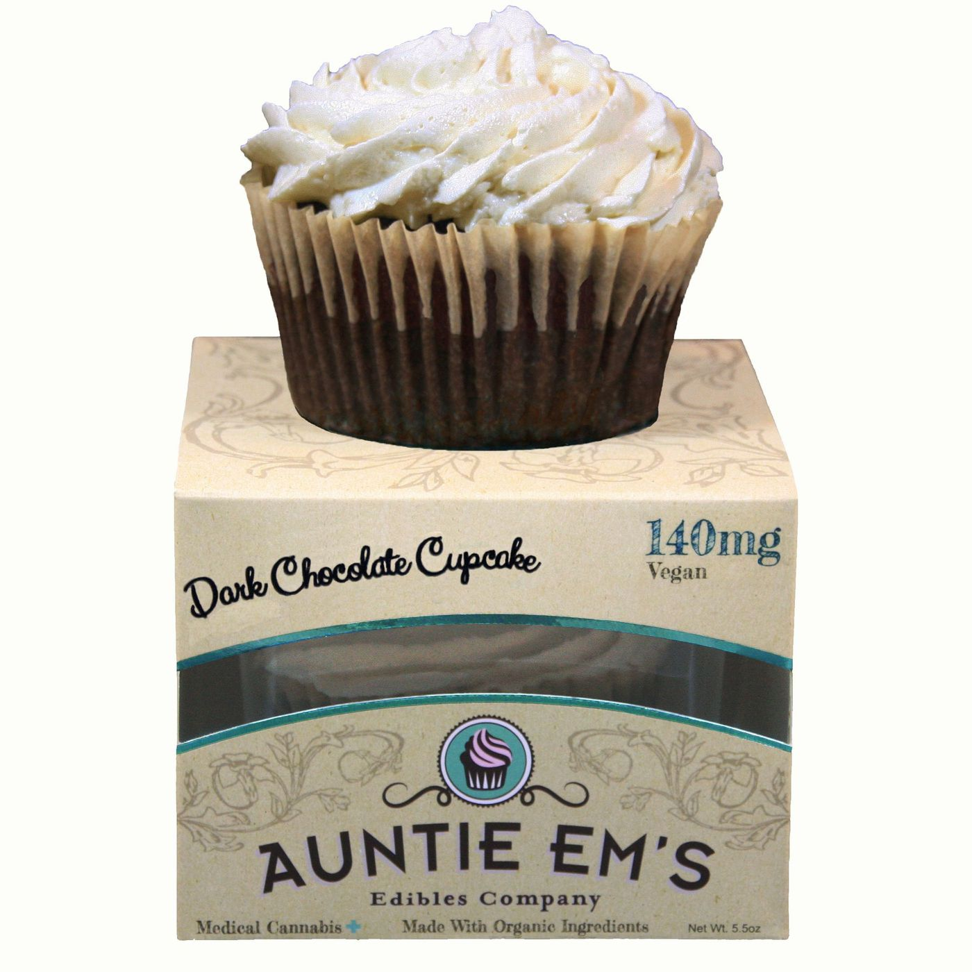 If you're in a cannabis-legal state, these Auntie Em's vegan & organic dark chocolate cupcake will leave you both mellow and satisfied! $20 @leafly.com