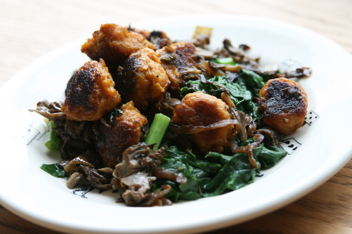 Sweet Potato Gnocchi with Wilted Spinach+ Maitake Mushrooms