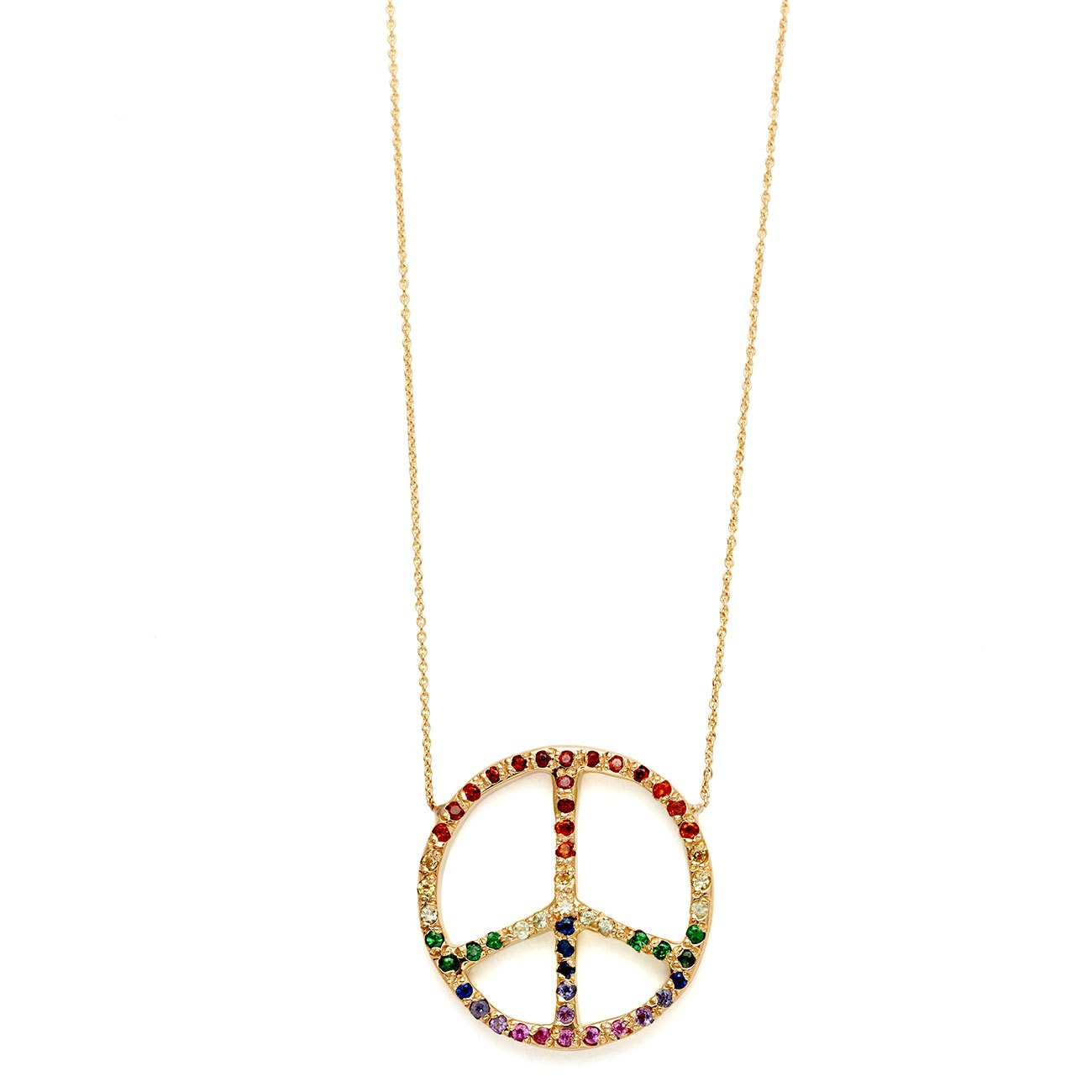 Ombre Rainbow Peace Sign Necklace (garnet, citrine, yellow sapphire, peridot, tsavorite, blue sapphire, iolite, amethyst, rhodolite, and pink sapphire), $2,760 @elisasolomon.com