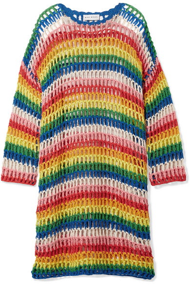 MIRA MIKATI Striped crocheted cotton dress, $280 @netaporter.com