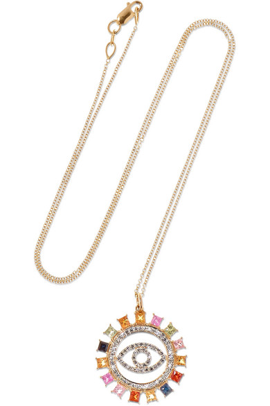 ILEANA MAKRI Eye 18-karat gold, sapphire and diamond necklace, $2,915 @netaporter.com