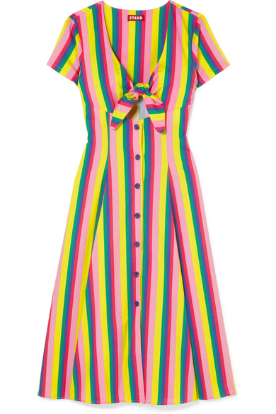 STAUD Alice tie-front striped cotton-blend poplin dress, $275 @netaporter.com