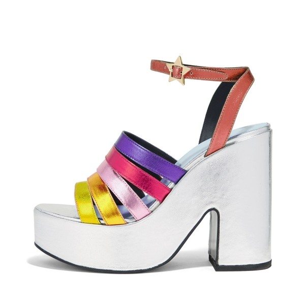 Rainbow Sandals Ankle Strap Colorful Chunky Heels with Platform, $80 @fsjshoes.com