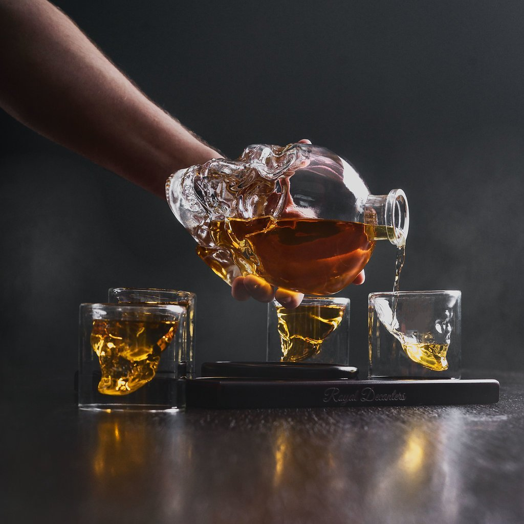 Royal Decanters Skull Shaped Glass Whiskey and Liquor Decanter Gift Set, $40 @amazon.com