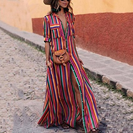 Yanekop Womens Rainbow Loose Button Down Stripes Half Sleeve Maxi Dress with Pockets, $29 @amazon.com